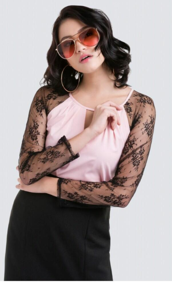 Pink blouse with lace sleeves