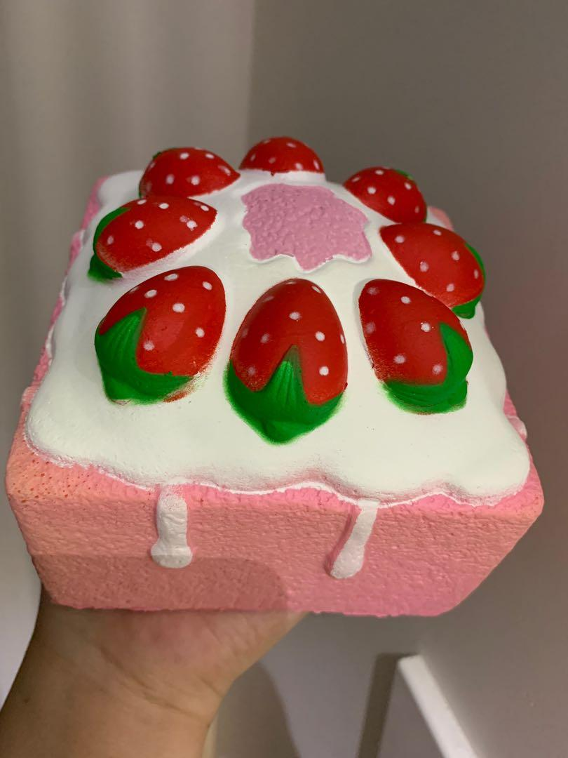 Pink cake squishy toy