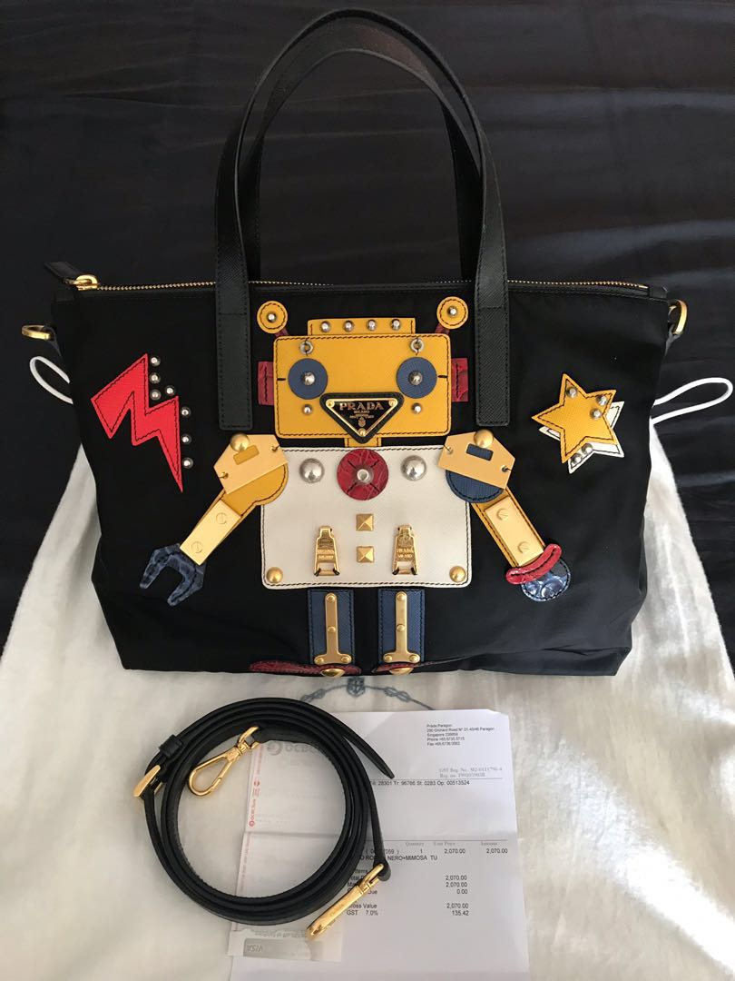 0923cb5aabca Prada Tessuto Robot Tote Bag Nylon Fabric with strap and receipt ...