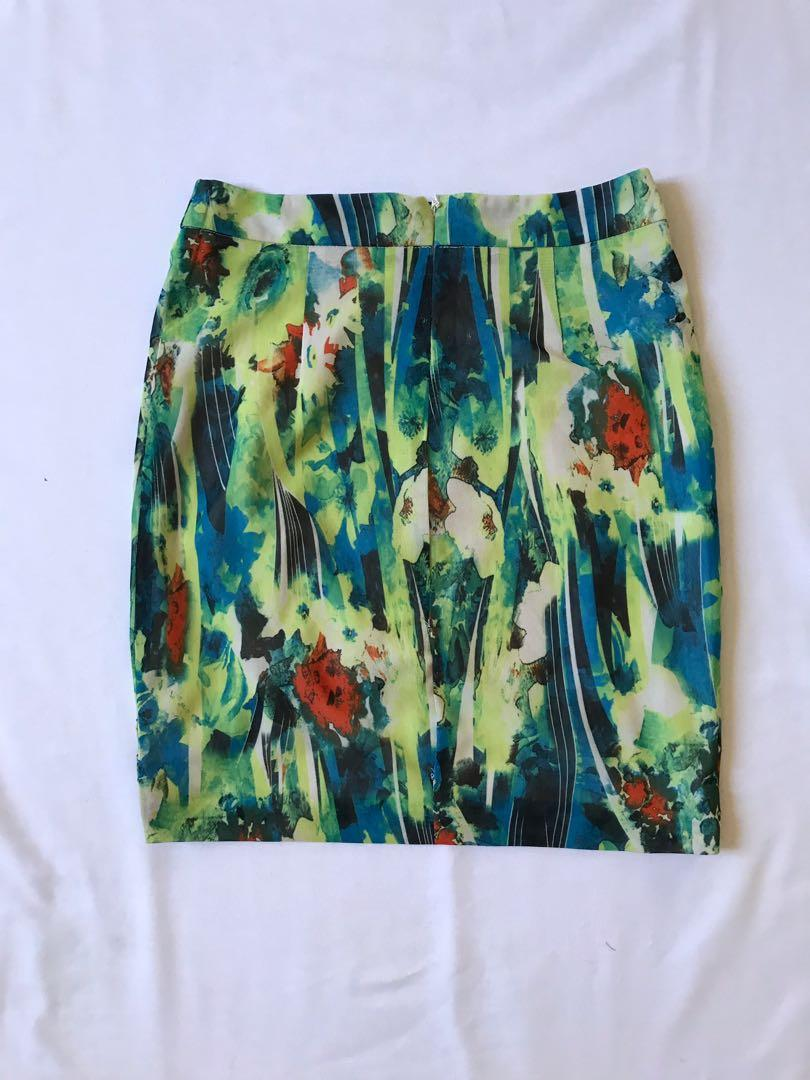 Rosebullet Women's Multicoloured Abstract Floral High Low Mini Skirt Size 8