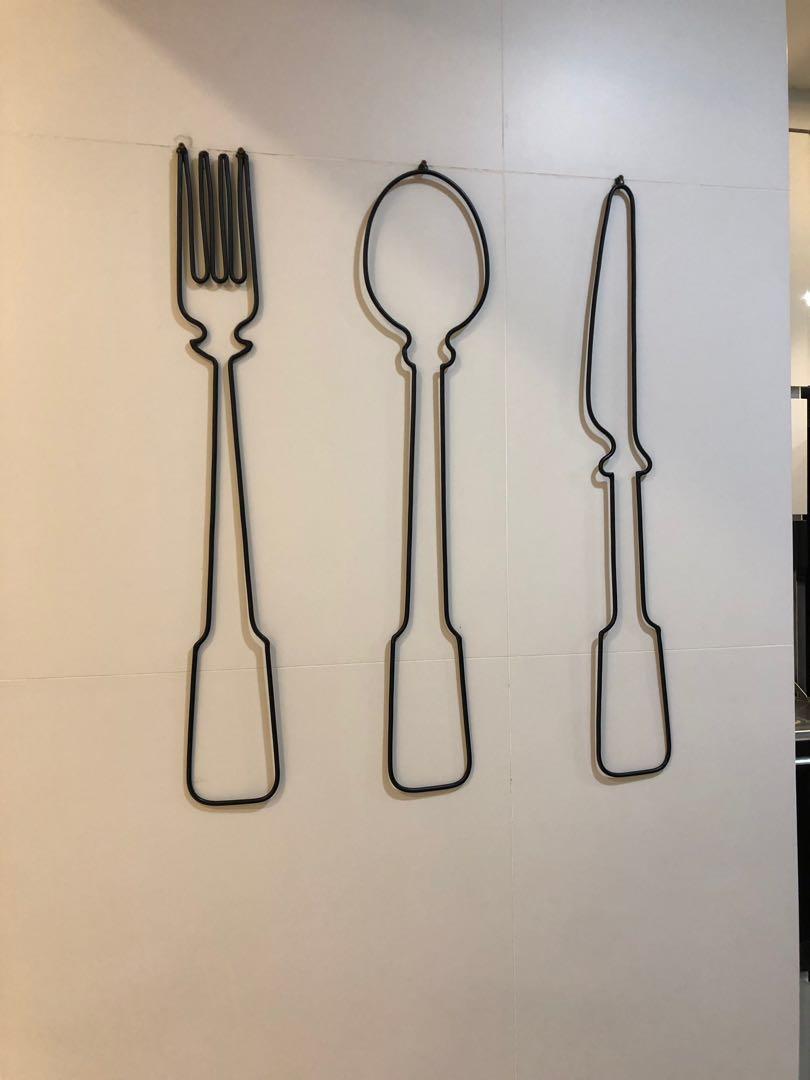 Set Of Metal Wall Decor Fork Spoon Knife
