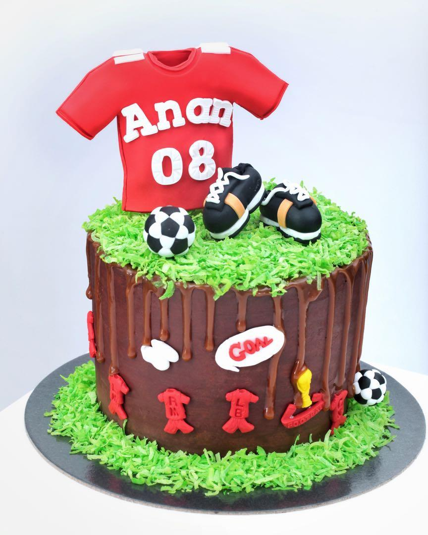 Fine Soccer Birthday Cake Food Drinks Baked Goods On Carousell Personalised Birthday Cards Paralily Jamesorg