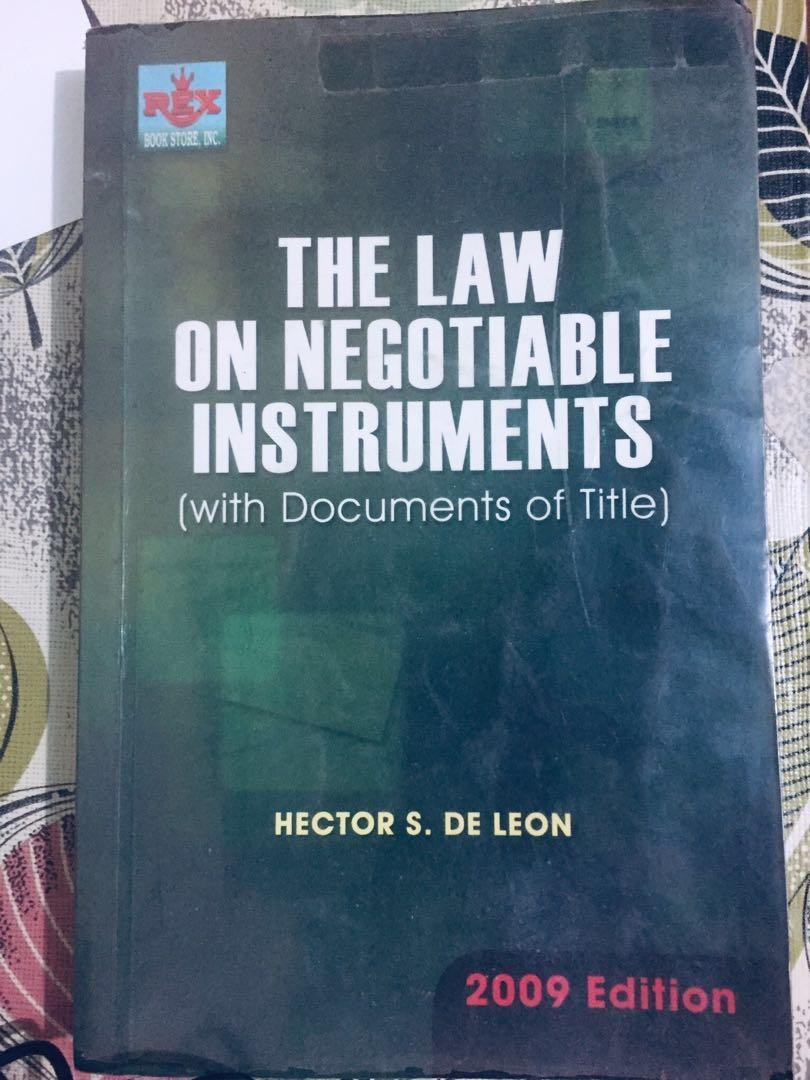 The Law on Negotiable Instruments by Hector S. De Leon