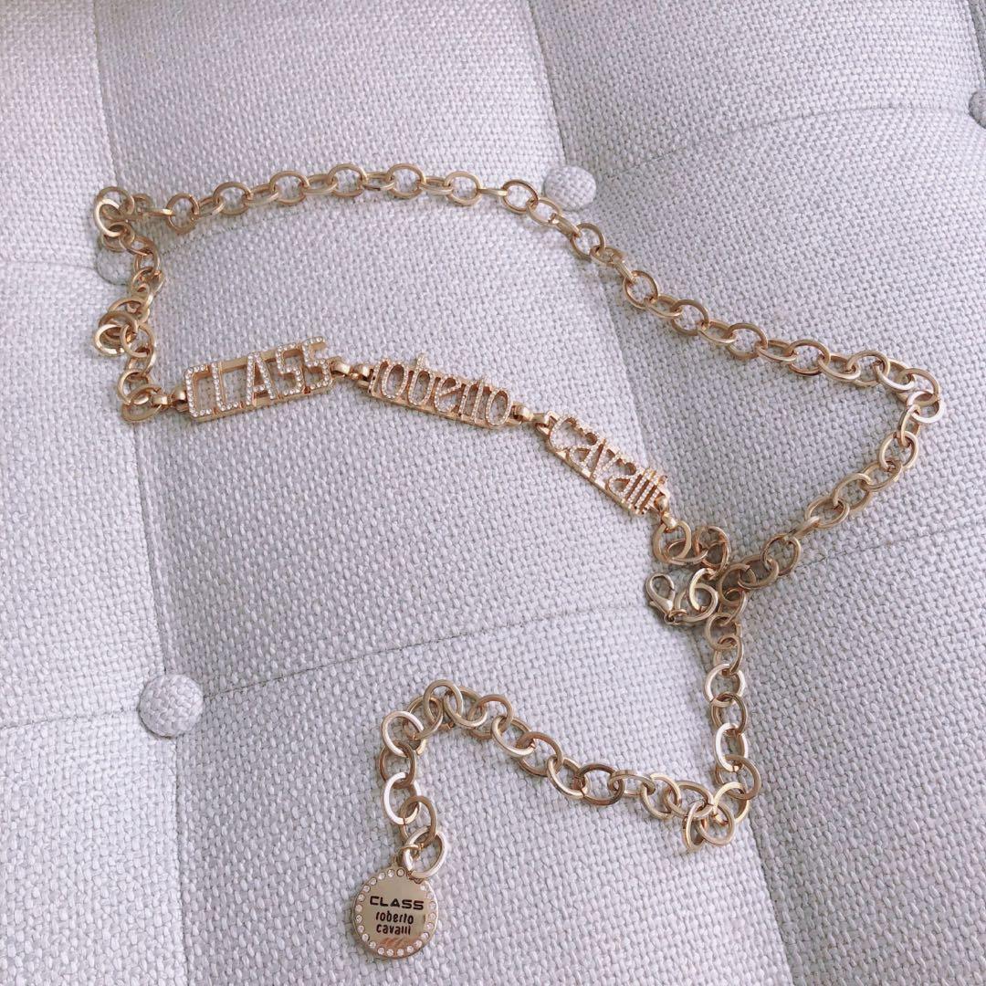 Vintage Roberto Cavalli gold chain diamanté belt