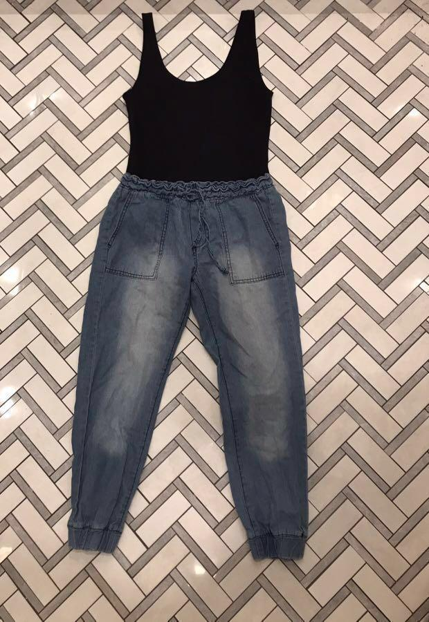 Wilfred (Aritzia) body suit and Acid Wash Cargo Jeans