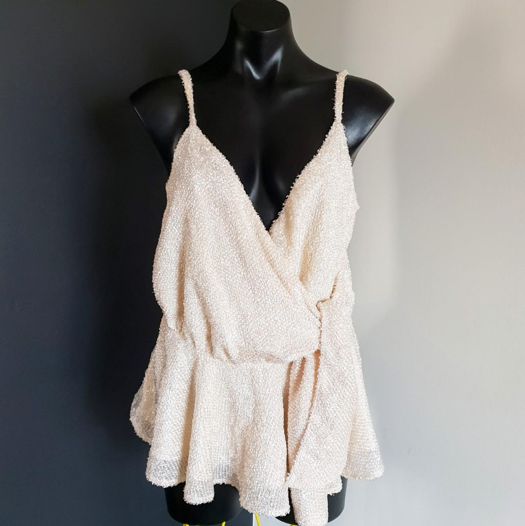 Women's size M 'MISHA COLLECTION' Gorgeous nude soft feel tie up top - AS NEW