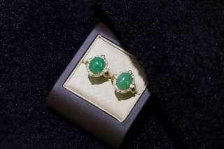 陽綠翡翠蛋面鑚戒 四爪鑲嵌更牢固  設計別出心裁   尺寸約12.3*10.3 鑽石30份