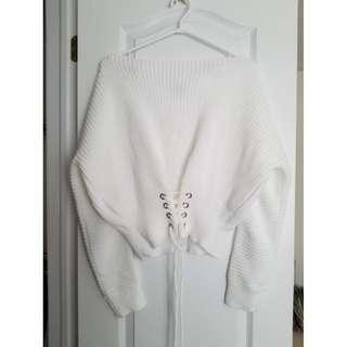 White Corset Sweater