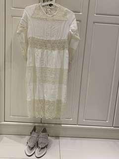 白色蕾絲連身裙