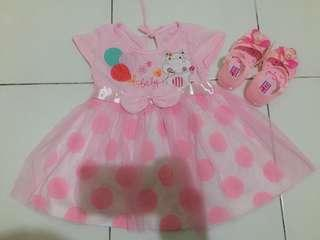 •• Soft Pink Baby Girl Dress + Jelly Pink Shoes ••