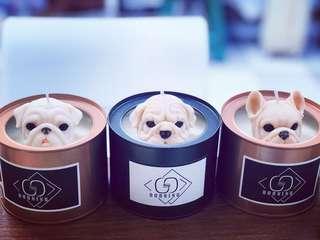 🚚 「G&S Burning手作蠟」狗頭造型鐵罐香氛蠟燭