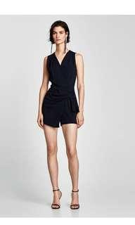 BNWNT Zara jumpsuit with skort and knot navy