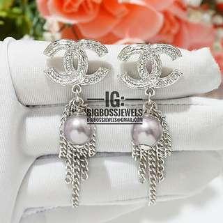Silver Diamond Like Crystals Pearl Tassels Dangling Crystals Earrings Ear Studs