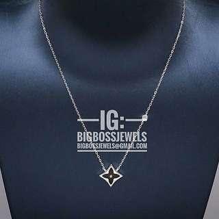Silver Black Blossom Monogram Necklace 925 Silver Chain