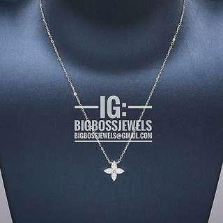 Silver Bling Diamond Like Crystals Monogram Blossom 925 Silver Necklace Chain