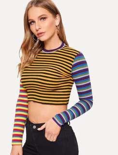 NEW Striped Crop Tops Knitted Pullovers Knitwear Elasticity Women Sweater Thin Streetwear Street Size M Yellow Blue Kuning Biru Caterpillar #SuperDeal