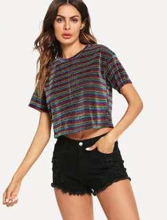 NEW Crop Glitter Striped Tee Glowing Rainbow Disco Party colorful crop tee kaos konser concert clubbing glow size S #SuperDeal