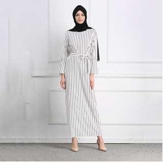 Muslimah Stripe Long Maxi Hijab Arabic Dress