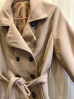 駝色棉質雙排扣外套