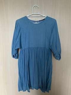 Blue Chambray Babydoll Dress