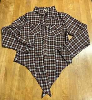日系短板格子襯衫