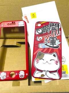 Iphone 7, iphone 8 4.7 吋 新春紅色開運 招財猫軟保護套 玻璃保護貼