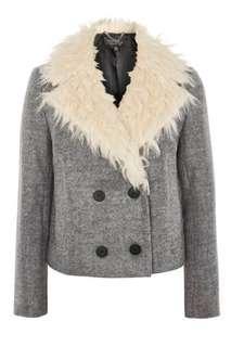 Topshop fur collar grey pea coat