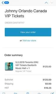 Johnny Orlando VIP ticket for May 2