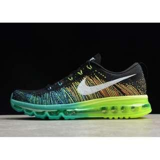 31d54f0417103 Men s Nike Flyknit Air Max Black Turbo Green-Volt Running Shoes