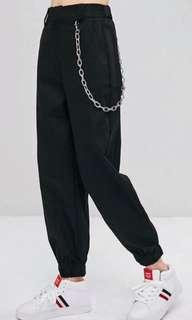 Black Cargo Pants (xs) - comes with chain