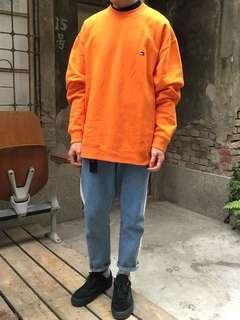 🚚 Tommy Hilfiger 🇰🇷韓版 長版 落肩 橘色毛衣 厚毛衣 大學T 古著