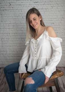 WILLIAM RAST cold shoulder white blouse top M