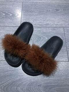 Real fur slides