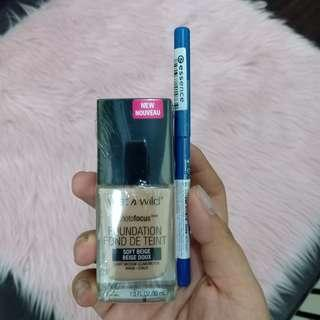Wet n wild photofocus foundation with free essence eyeliner soft beige