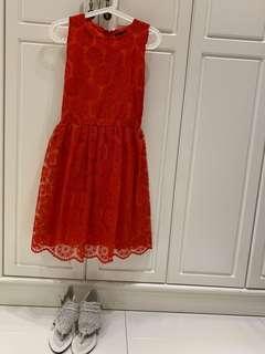 Zara紅色背心連身裙
