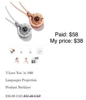 I love you in 100 language necklace