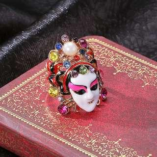 Hand made Stylish Traditional Chinese Opera Facial Makeup Ring Colorful Crystal (Wood Box)