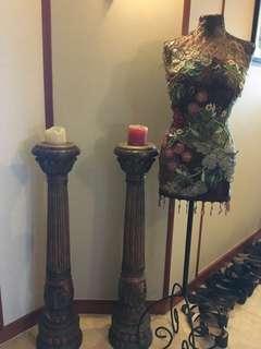 Designer's mannequin + 2 solidwood candle holder