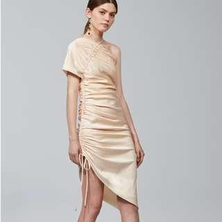 NEW WITH TAGS Keepsake Chandelier nude one shoulder ruched dress S (AU 8)