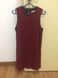 Maroon Sleeveless Lace dress P&Co