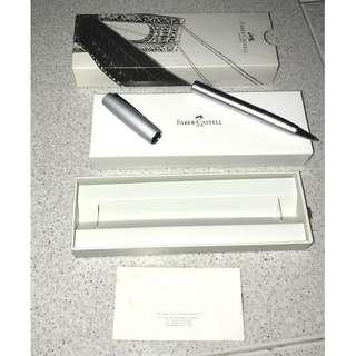 Authentic Faber Castell Loom Metallic Silver Rollerball Writing Implement Pen Gift Box