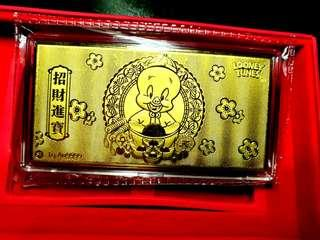 SK Jewellery Looney Tunes Good Fortune gold bar