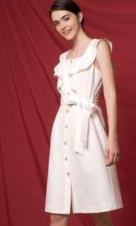 Saturday Day Club Tied Flouncy Midi Dress White in XXS