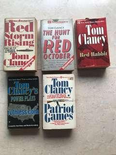 Tom Clancy's and Michael Crichton's books (various titles)