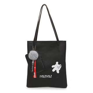 Mickey black waterproof tote bag with pouch
