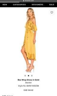 Bea Wrap Dress in Gold (XS)