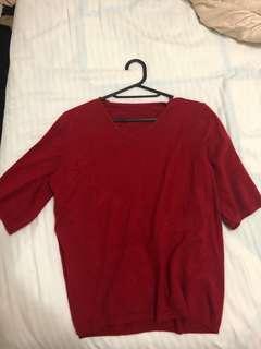 🚚 正韓 紅色針織優雅氣質上衣