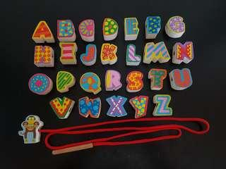 Pre-loved Alphabet Stringing Wooden Blocks