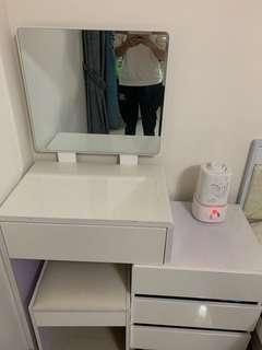 化妝桌+椅+桌鏡