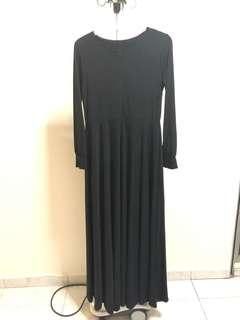 meera maxi plain black dress